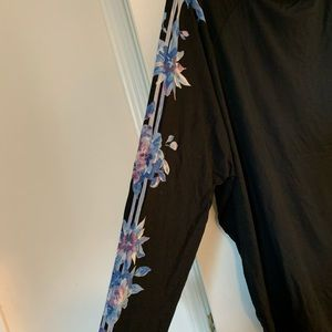 Brand New Black Top with Blue flowers